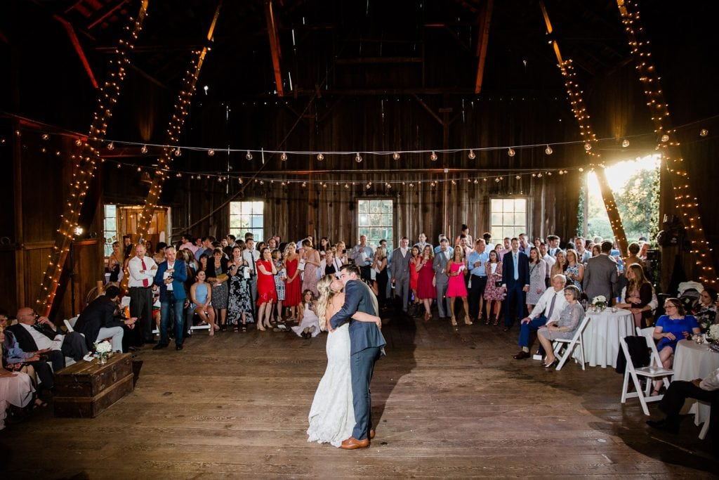 Couples first dance at wedding venue Barn Kestrel