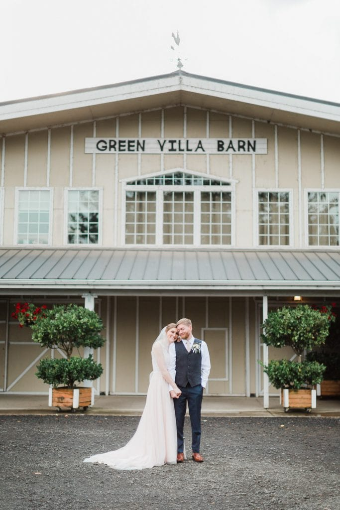 Newlywed couple at Green Villa Barn a wedding venue in Oregon