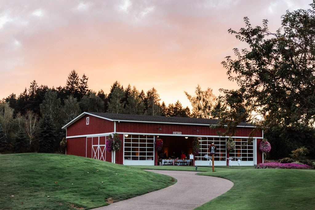 Red Shed barn sunset at Langdon Farms an Oregon barn wedding venue